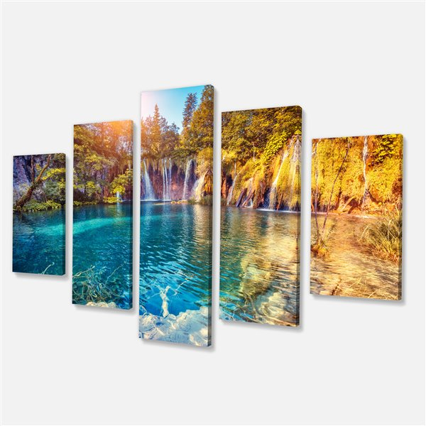 Designart Canada Sunny Turquoise Water 32-in x 60-in 5 Panel Wall Art