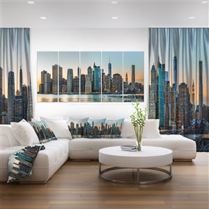 Designart Canada New York City Skyline Canvas Print 28-in x 60-in 5 Panel Wall Art