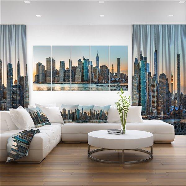 """Horizon new-yorkais, impression sur toile, 60""""x28"""", 5 pièces"""