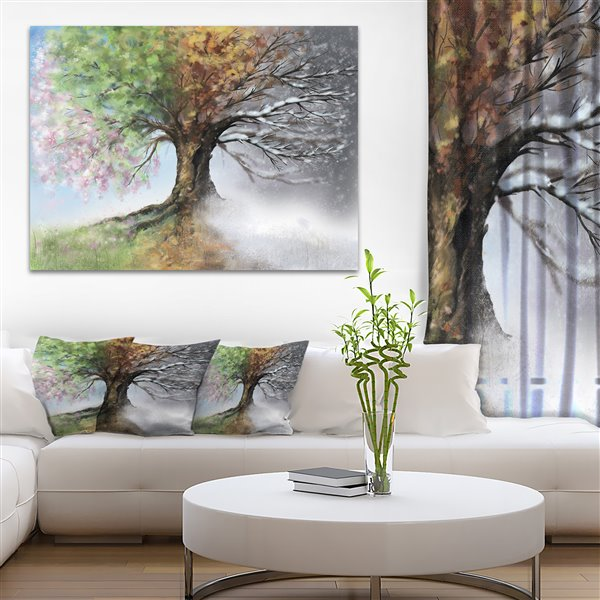 Designart Canada Four Seasons Tree Print on Canvas 30-in x 40-in
