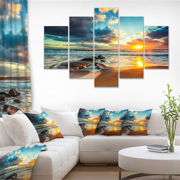 Designart Canada Beautiful Cloudscape Over The Sea 60-in x 32-in 5 Panel Wall Art