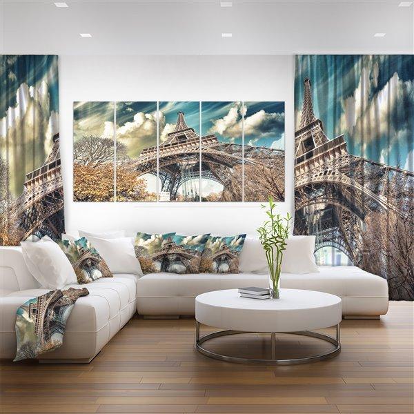 Designart Canada Street View of Paris Eiffel Tower 28-in x 60-in 5 Panel Wall Art