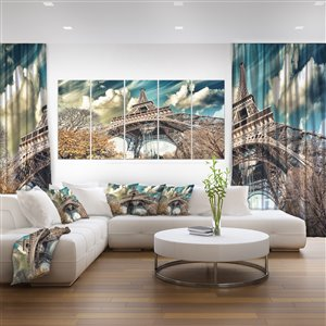 Designart Canada Street View of Paris Eiffel Tower 28-in x 60-in 5 Panel Wall Art