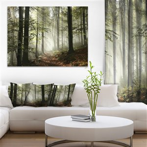 Designart Canada Light in Foggy Fall Forest Paint on 30-in x 40-in Canvas Wall Art