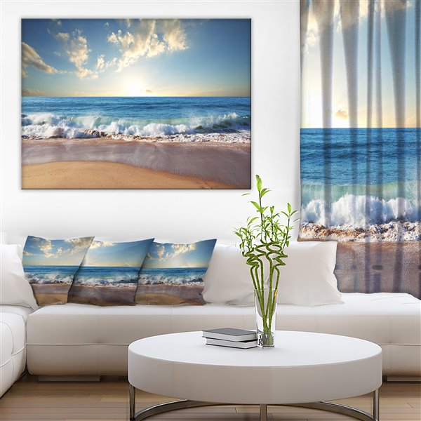 Designart Canada Sea Sunset 30-in x 40-in Canvas Wall Art
