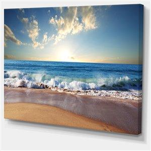 """Tableau, coucher de soleil sur la mer, 30"""" x 40"""""""