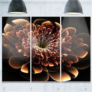 Designart Canada Brown Fractal Flower Metal Wall Art 28-in x 36-in 3 Panel Wall Art