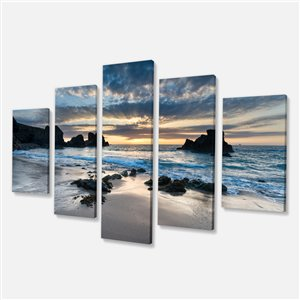Designart Canada Porthcothan Bay Canvas Print 32-in x 60-in 5 Panel Wall Art