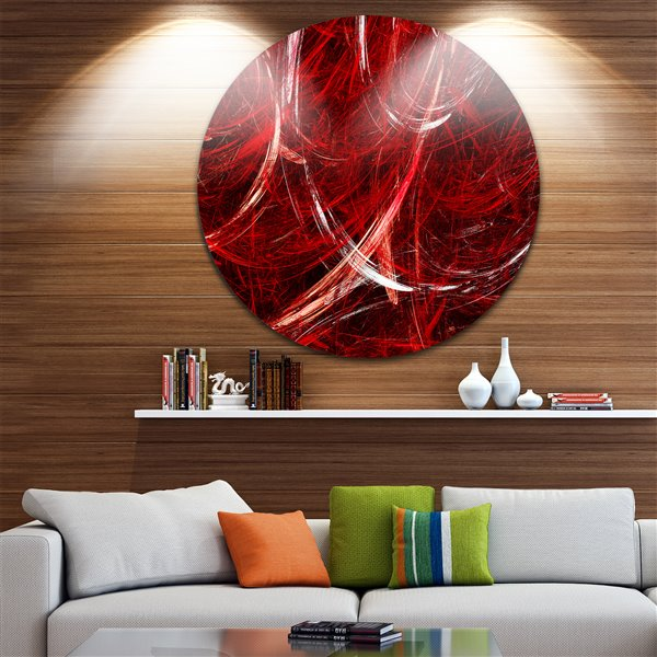 Designart Canada Red Swirling Clouds 29-in Round Metal Wall Art