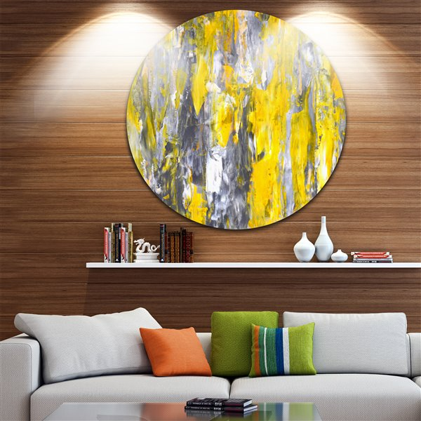 """Toile ronde en métal, motifs gris et jaunes, diamètre 38"""""""