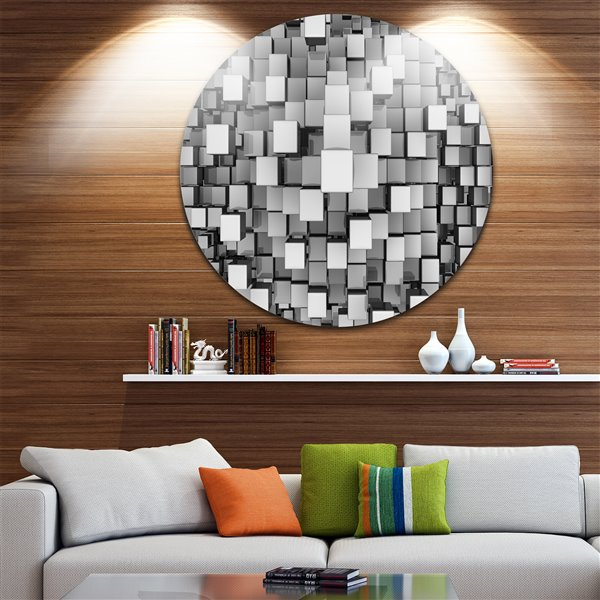 Designart Canada Black and Grey Cubes 11-in Round Metal Wall Art