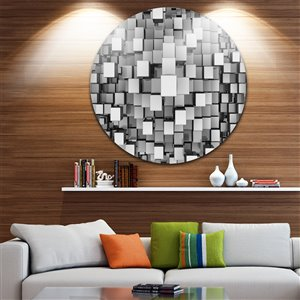 Black and Grey Cubes 11-in Round Metal Wall Art