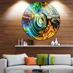 Designart Canada Paths of Stained Glass 38-in Round Metal Wall Art