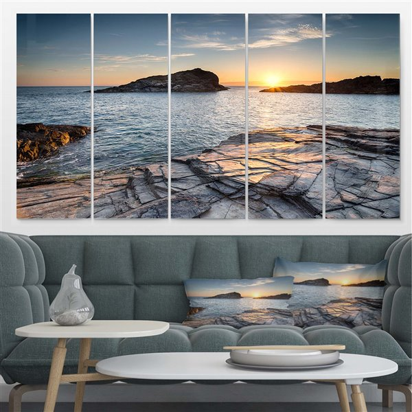 Designart Canada Cornwall Coast Sunset 28-in x 60-in 5 Panel Metal Wall Art