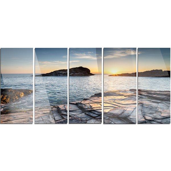 """Toile en métal, crépuscule à Cornwall, 28"""" x 60"""", 5 panneaux"""