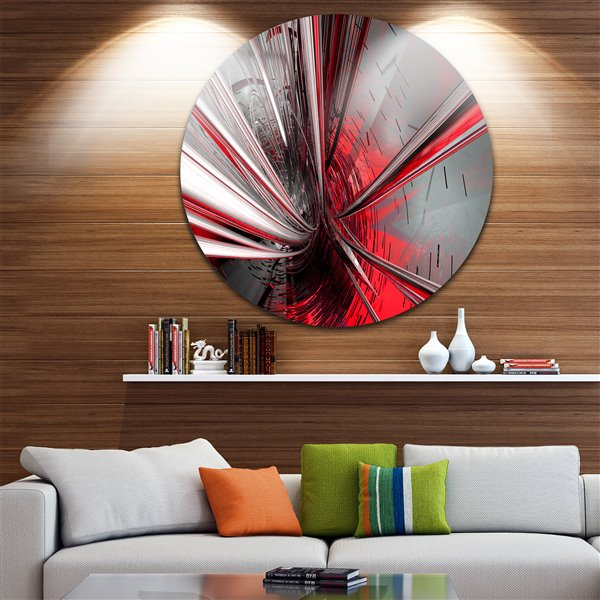 Designart Canada Fractal 3D 38-in Round Metal Wall Art