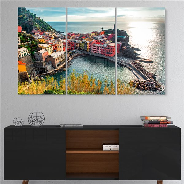 Designart Canada Vernazza Bay Aerial View 28-in x 36-in 3 Panel Wall Art