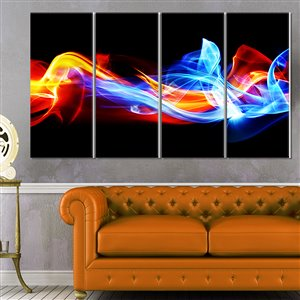 Designart Canada Fire and Ice Metal Wall Art 28-in x 48-in 4 Panel Wall Art