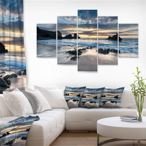 Designart Canada Beautiful Porthcothan Bay 60-in x 32-in 5 Panel Wall Art