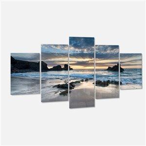 """Jolie baie de Porthcothan, tableau d'art, 60""""x 32""""- 5 pièces"""
