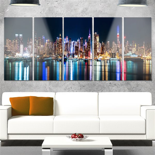 Designart Canada New York Midtown Night Panorama Print 28-in x 60-in 5 Panel Wall Art