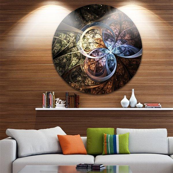 Designart Canada Dark Brown Fractal Flower 11-in Round Metal Wall Art