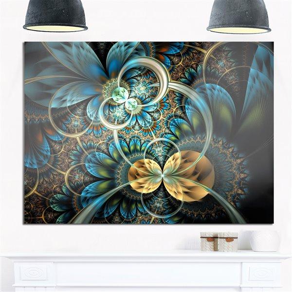 Designart Canada Blue Gold Fractal Flower 40-in x 30-in Metal Wall Art Wall Art