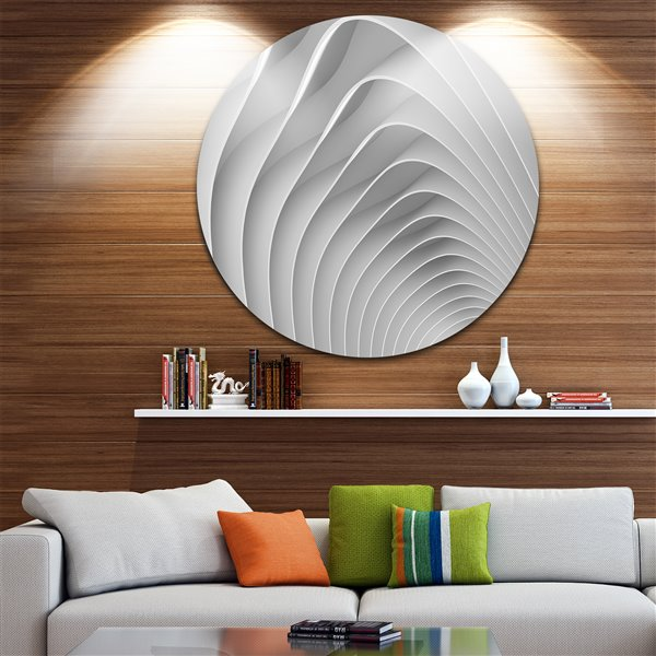 Designart Canada White 3D Waves 11-in Round Metal Wall Art