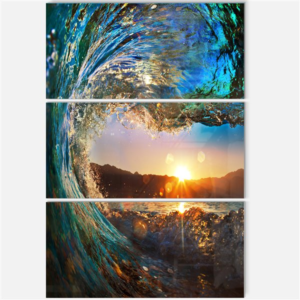 Designart Canada Coloured Ocean Waves 28-in x 36-in 3 Panel Wall Art