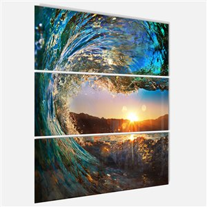 """Tableaux, vagues de l'océan - 28"""" x 36"""", 3 panneaux"""