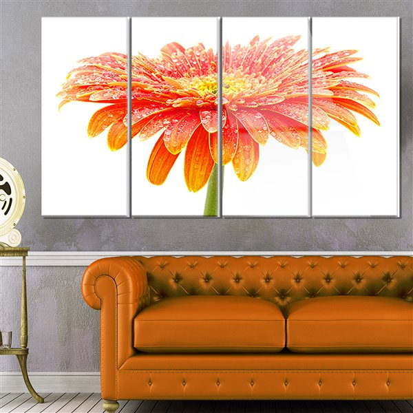 Designart Canada Large Orange Flower on White 28-in x 48-in 4 Panel Wall Art