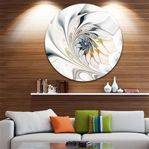 Designart Canada White Stained Glass Floral Design 29-in Round Metal Wall Art
