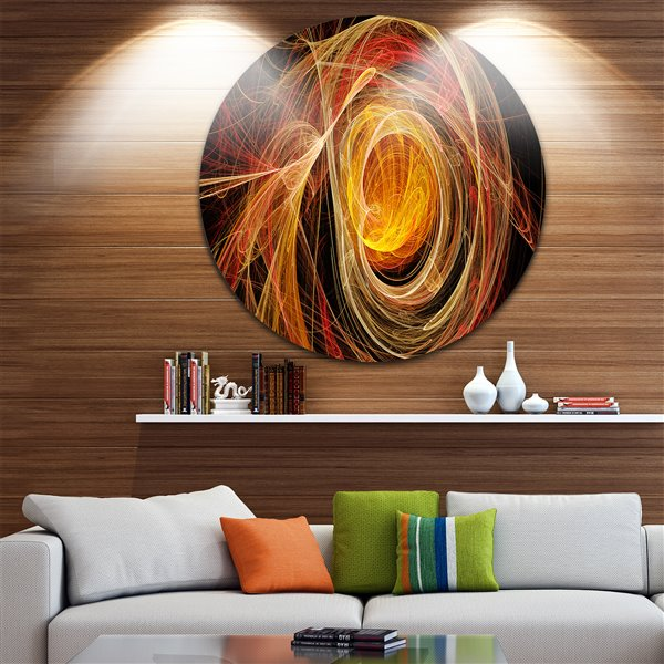 Designart Canada Orange Ball of Yarn 23-in Round Metal Wall Art