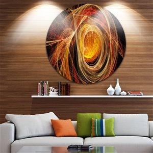 """Toile ronde en métal, pelote de laine orange, diamètre 23"""""""
