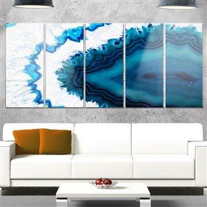 """Toile en métal, géode bleu brésilien, 28"""" x 60"""", 5 panneaux"""