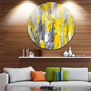 Grey and Yellow Pattern 11-in Round Metal Wall Art