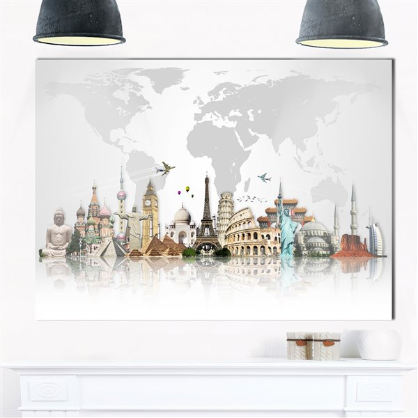 Designart Canada Famous Monuments Across World Metal Wall Art 30-in x 40-in