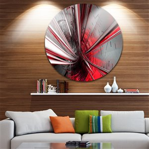Designart Canada Fractal 3D 11-in Round Metal Wall Art