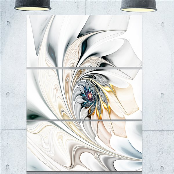 """Imprimée en metal, vitraux blanc, 28"""" X 36"""" - 3 panneaux"""
