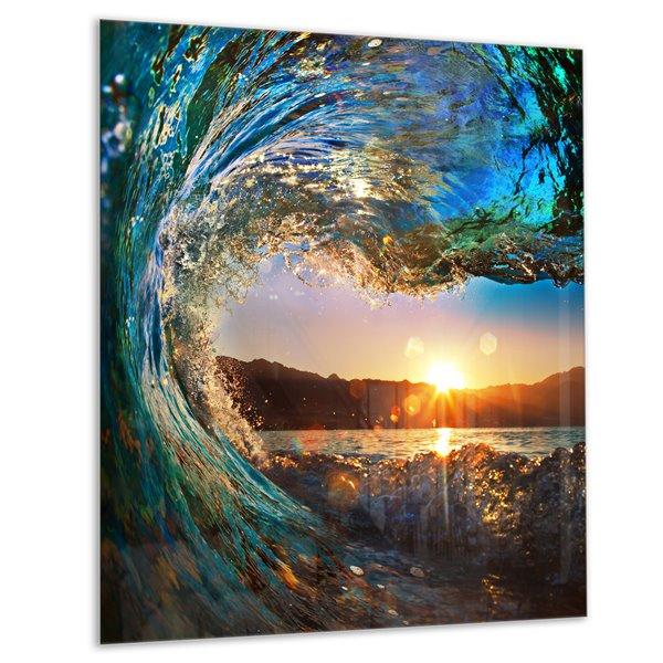 Designart Canada Ocean Waves  40-in x 30-in Metal Wall Art