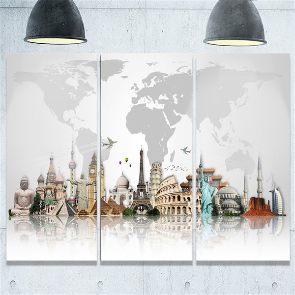 Designart Canada Famous Monuments Metal Print 28-in x 36-in 3 Panel Wall Art