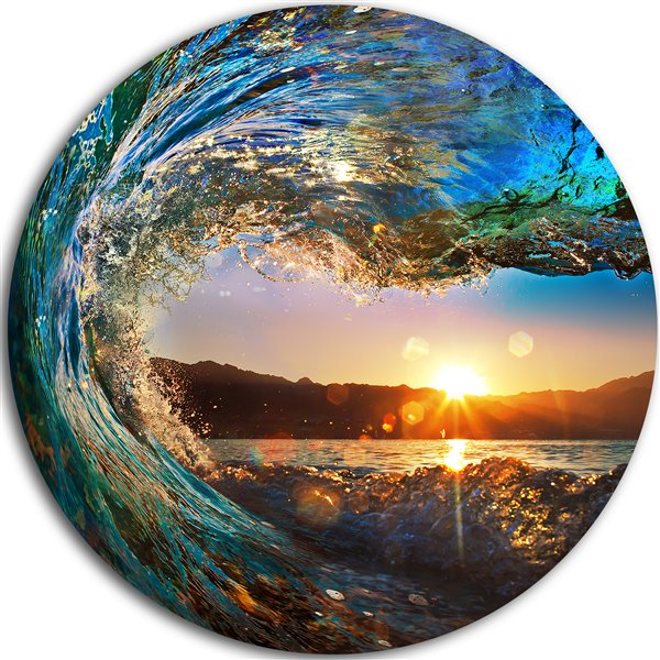 Designart Canada Ocean Waves 11-in Round Metal Wall Art