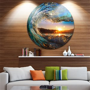 Designart Canada Ocean Waves 11-in Round Metal Wall Art