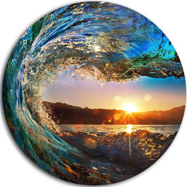 "Imprimée en métal, vagues de l'océan, disque , 38"""