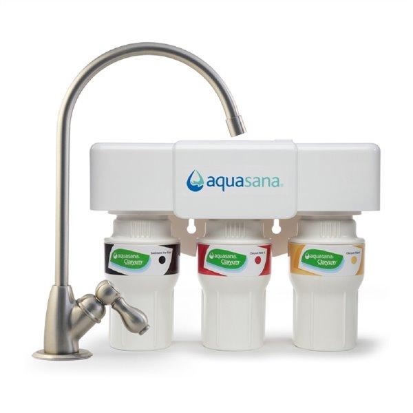 Filtre à eau potable en 3 étapes Aquasana, nickel brossé