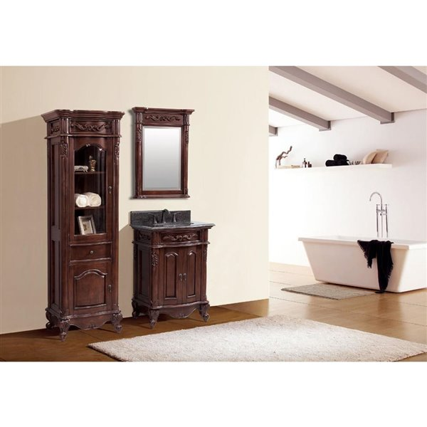 Avanity Provence 25-in Single Sink Cherry Bathroom Vanity with Granite Top