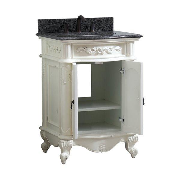 Avanity Provence 25-in Single Sink White Bathroom Vanity with Granite Top