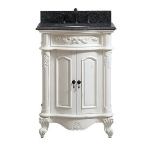 Provence 25-in Single Sink White Bathroom Vanity with Granite Top