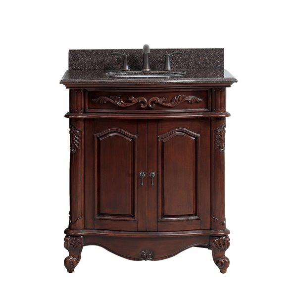 Avanity Provence 31-in Single Sink Cherry Bathroom Vanity with Granite Top