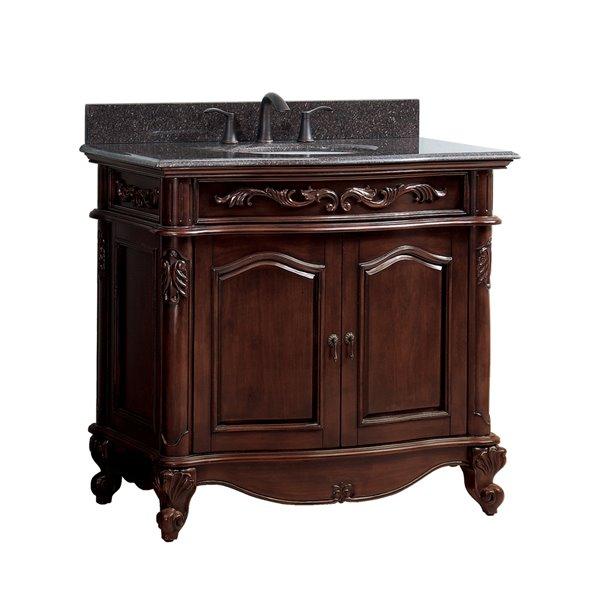 Avanity Provence 37-in Single Sink Cherry Bathroom Vanity with Granite Top